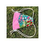 Batohy - Kvetovaný zaťahovací mini batôžtek / batoh  - 10807290_