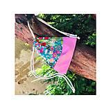 Batohy - Kvetovaný zaťahovací mini batôžtek / batoh  - 10807292_