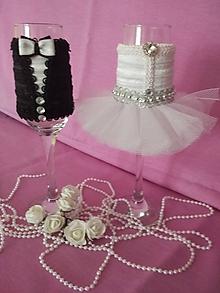 Darčeky pre svadobčanov - Svadobné poháre 2 ks ženích a nevesta - 10807225_