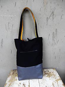 Veľké tašky - Obojstranná taška - čierna&oker - 10807488_