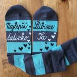 """Obuv - Maľované pásikavé ponožky s nápisom: """"najlepší tatinko /Ľúbime Ťa"""" - 10806098_"""