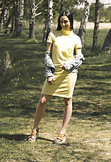 Šaty - Úpletové šaty žlté - 10807562_