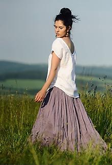 Sukne - Lněná maxi sukně s tiskem - Lila - 10808090_