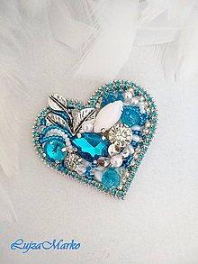 Odznaky/Brošne - Luxusné srdce brošňa - 10807438_