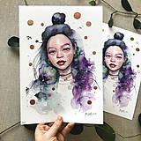Obrazy - Akvarelová štúdia - dievča, (ART PRINT) - 10806201_