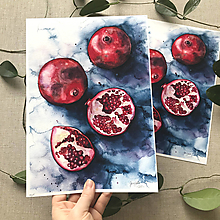 Obrazy - Granátové jablko, (ART PRINT) akvarel - 10806159_