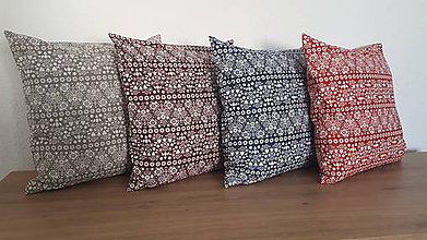 Úžitkový textil - Obliečka na vankúš s folk motívom (Bordový vzor) - 10810437_