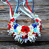 Ozdoby do vlasov - Folklórna slovenská parta z lúčnych kvetov s makmi,margarétami, konvalinkami - 10810585_