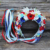 Ozdoby do vlasov - Folklórna slovenská parta z lúčnych kvetov s makmi,margarétami, konvalinkami - 10810586_
