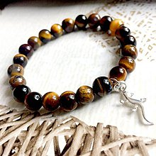 Náramky - Tiger Eye & Lizard Elastic Bracelet AG925 / Elastický náramok tigrie oko, jasterička /A0026 - 10809130_