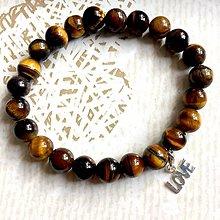 Náramky - Tiger Eye & Love Elastic Bracelet AG925 / Elastický náramok tigrie oko, prívesok Love - 10809160_