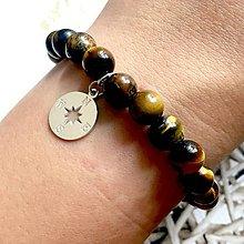 Náramky - Tiger Eye & Compass Elastic Bracelet AG925 / Elastický náramok tigrie oko, kompas - 10809202_