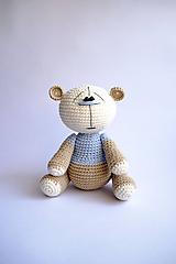 Hračky - Háčkovaný macko - Ňuňúch malý   Modrá   Béžová   Hnedá - 10810637_