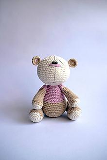 Hračky - Háčkovaný macko - Ňuňúch malý | Ružová | Béžová | Hnedá - 10810653_