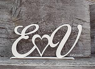 Dekorácie - svadobné iniciály prírodné - 10809472_