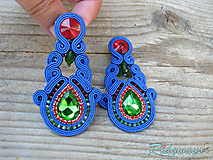 Náušnice - Blue/Red - Green...soutache - 10808946_