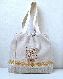 Iné tašky - Ľanová taška-batôžtek - 10808724_