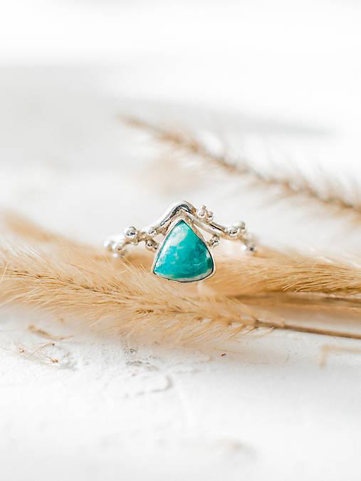 Strieborný ligotavý prsteň s amazonitom - Bokeh Amazo