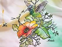 Šál hodvábny - kolibrík na hodvábe