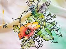 Šály - Šál hodvábny - kolibrík na hodvábe - 10809403_