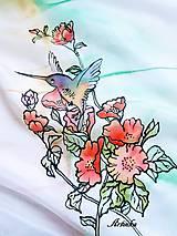 Šály - Šál hodvábny - kolibrík na hodvábe - 10809404_