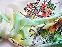 Šály - Šál hodvábny - kolibrík na hodvábe - 10809407_