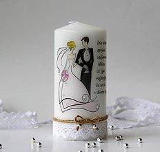 Darčeky pre svadobčanov - Dekoračná sviečka pre mladomanželov - 10810334_