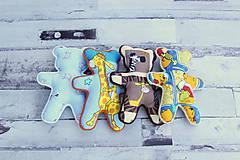 Hračky - Ručne šitý macko (Modrý s ovečkami) - 10809340_