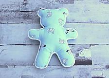 Hračky - Ručne šitý macko (Modrý s ovečkami) - 10809341_