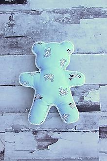 Hračky - Ručne šitý macko (Modrý s ovečkami) - 10809342_