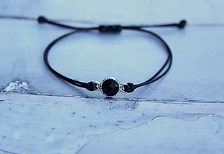Náramky - Náramok s brúseným kameňom (Čierny) - 10809868_