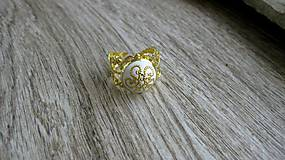 Prstene - Filigránový prsteň (biely č. 2714) - 10809777_