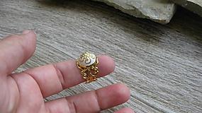 Prstene - Filigránový prsteň (biely č. 2714) - 10809779_