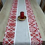 Úžitkový textil - ZUZANA-krása tradície červená (1)-stredový obrus - 10808579_