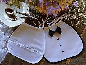 Iné doplnky - Svadobné podbradníky - čipka bielo-strieborná - 10809803_