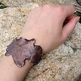 Náramky - Pokovený dubový list*náramek - 10810802_