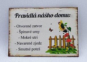 Drobnosti - Tabuľka - PRAVIDLA NÁŠHO DOMU - 10808565_