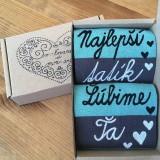 """Obuv - Maľované pásikavé ponožky s nápisom: """"najlepší tatík /Ľúbime Ťa"""" - 10808744_"""