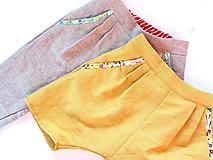 """Detské oblečenie - unisex nohavice krátke """" Ľanové """" - 10808551_"""