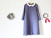 Šaty - Malé Ľanové s golierom (3/4 rukáv) - 10808554_