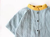 """Detské oblečenie - košeľa """"Ľanová """" so stojačikom a 3/4 rukávmi - 10809515_"""