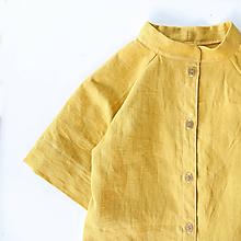 """Detské oblečenie - košeľa """"Ľanová """" so stojačikom a 3/4 rukávmi - 10809505_"""