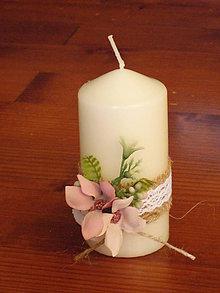 Svietidlá a sviečky - Vintage sviečky staroružové kvietky - 10809453_