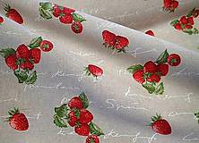 Textil - Režná s jahôdkami a pismom š.140cm - 10810621_