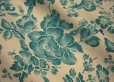 Textil - Tyrkysové kvety na bielom podklade š.140 - 10810628_