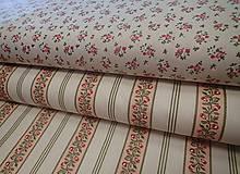 Textil - Bavlny ružičky a ružičky v pruhoch š.140 - 10810636_