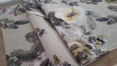 Úžitkový textil - Kvetinová sada (Stredový obrus s kvetmi Akana Royo na režnej) - 10812389_