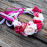 Ozdoby do vlasov - Svadobná parta z cysklámenových a ružových ruží - 10811815_