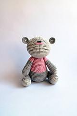 Hračky - Háčkovaný macko - Ňuňúch malý   Ružová   Šedá   Sivá - 10812806_