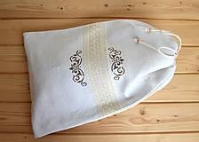 Úžitkový textil - Ľanové vrecko na chlieb s čipkou-podšité(dvojvrstvové) - 10811272_